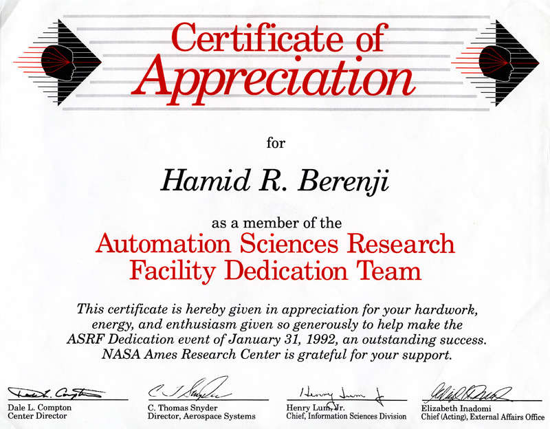 Intelligent inference systems corp certificate of appreciation as a member of the automation sciences research dedication team this certificate is hereby given in appreciation for the hard yadclub Image collections